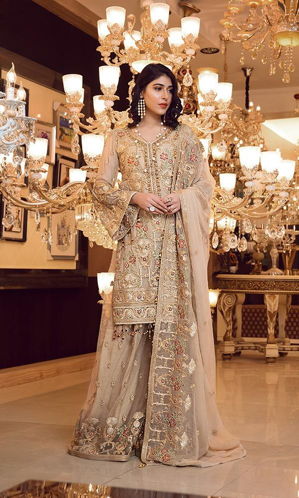 Elaf Premium Chiffon Vol-3 2019 suit Limestone - Embroidered Gold Chiffon Shirt, Embroidered Net Sharara