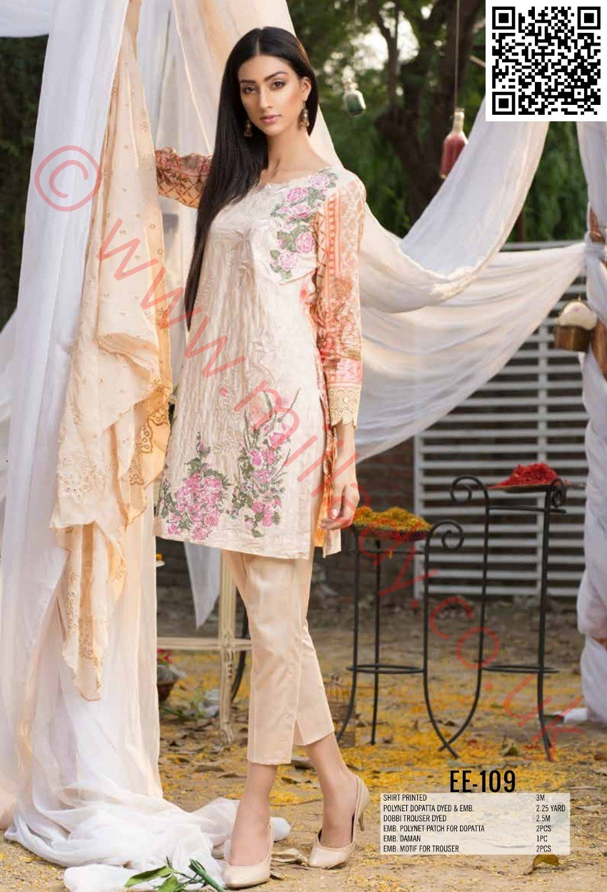 Eshaeman Festive/Eid 2018 suit EE-109 - Embroidered Kameez front with Embroidered PolyNet dupatta