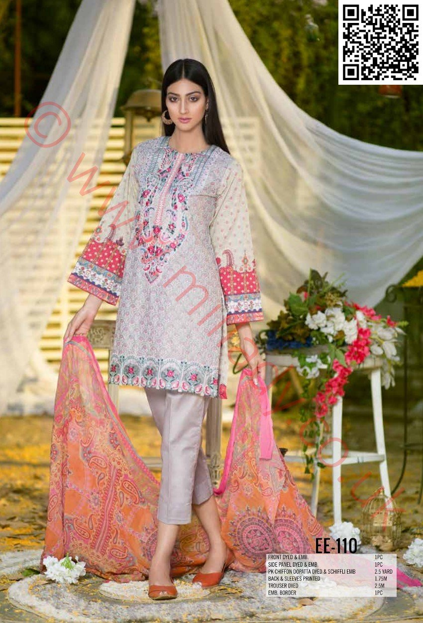 Eshaeman Festive/Eid 2018 suit EE-110 - Embroidered kameez with embroidered schiffli chiffon dupatta