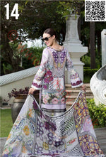 EshAisha Eid 2018 Embroidered Lawn suit D#14 - Embroidered lilac kameez with printed chiffon dupatta