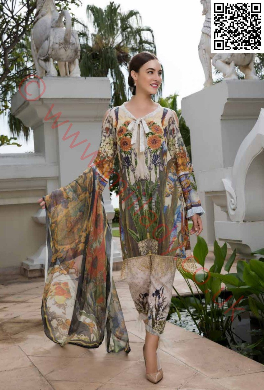 EshAisha Eid 2018 Embroidered Vol-3 Lawn suit D#17 - Embroidered beige kameez with printed chiffon dupatta
