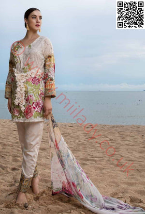 EshAisha Eid 2018 Embroidered Lawn vol-3 suit D#19