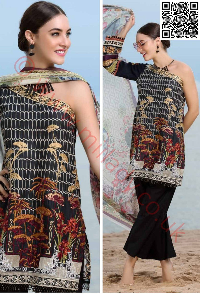 EshAisha Eid 2018 Embroidered vol-3 Lawn suit D#21 - Black embroidered kameez with chiffon dupatta