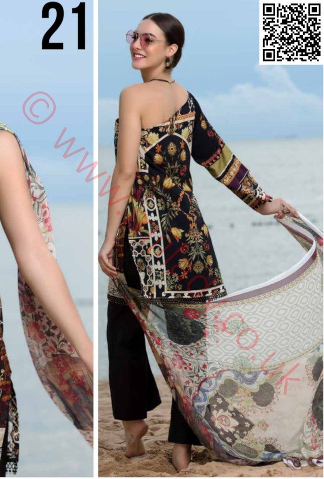 EshAisha Eid 2018 Embroidered Lawn suit D-21