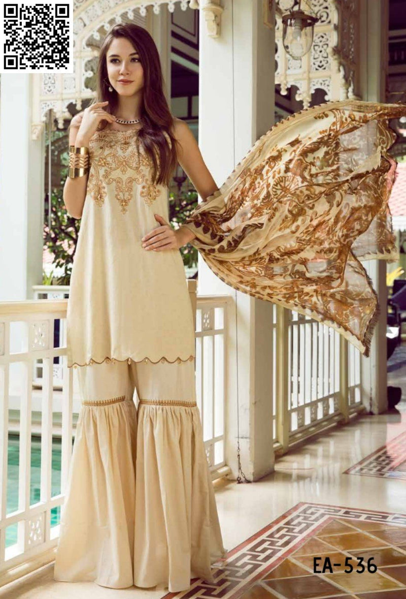 Eshaisha Eid Embroidered Lawn 2019 suit EA-536 - Embroidered Jacquard beige kameez with printed chiffon dupatta