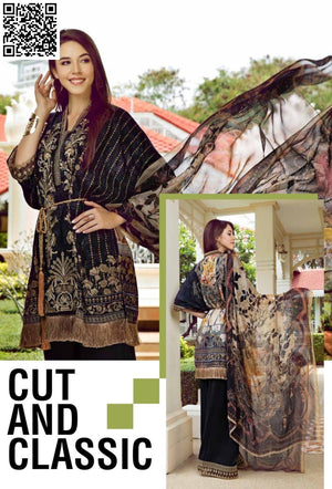 EshAisha Eid Luxury Collection 2019 Suit EA-540 - Embroidered black lawn kameez with printed chiffon dupatta