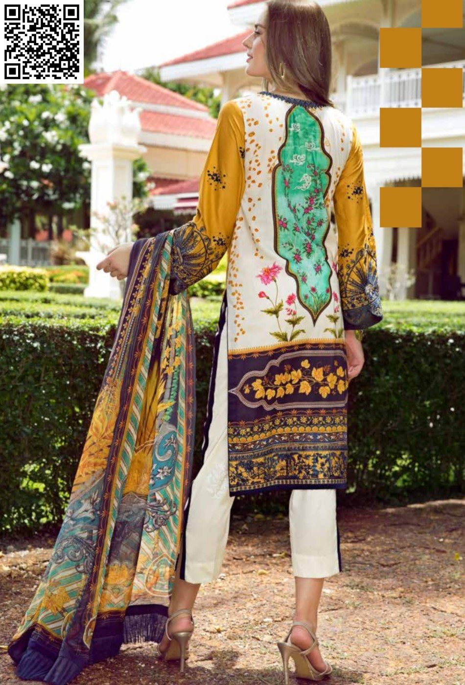 EshAisha Eid 2019 Lawn Suit EA-542 - Embroidered Yellow Lawn Shirt, dyed bottom and printed chiffon dupatta