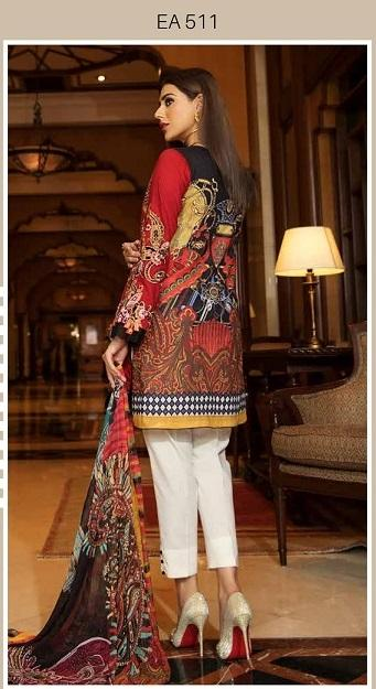 Eshaisha Luxury Embroidered Eid 2019 suit EA-511 - Embroidered Red Lawn Kameez with printed chiffon dupatta
