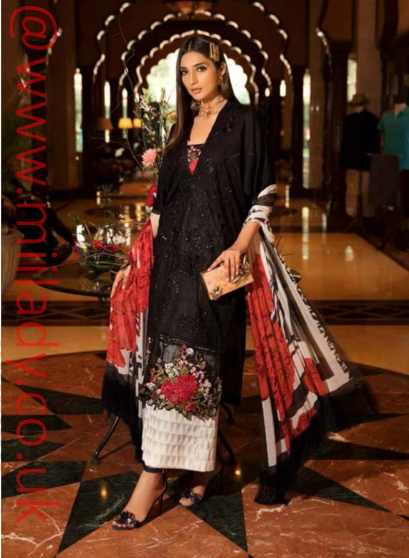 Eshaisha Luxury Embroidered Eid 2019 suit EA-521 - Schiffli Lawn Kameez