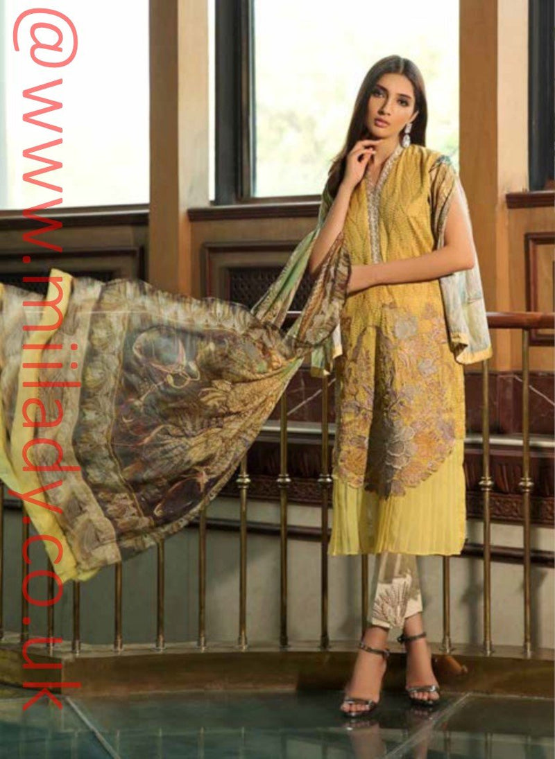 Eshaisha Luxury Embroidered Eid 2019 suit EA-522 - Schiffli Lawn Kameez