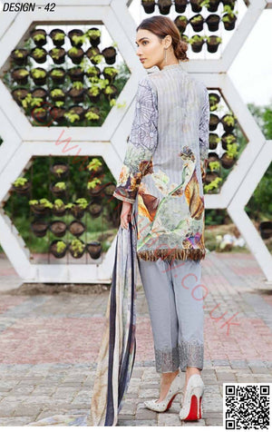 Eshaisha Embroidered Lawn Vol-4 2018 suit D#42 - Grey Kameez with Printed Chiffon Dupatta