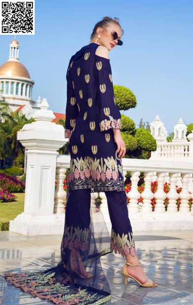 EshAisha Embroidered Lawn Summer 2019 EA-517 - Embroidered navy lawn kameez with embroidered net dupatta