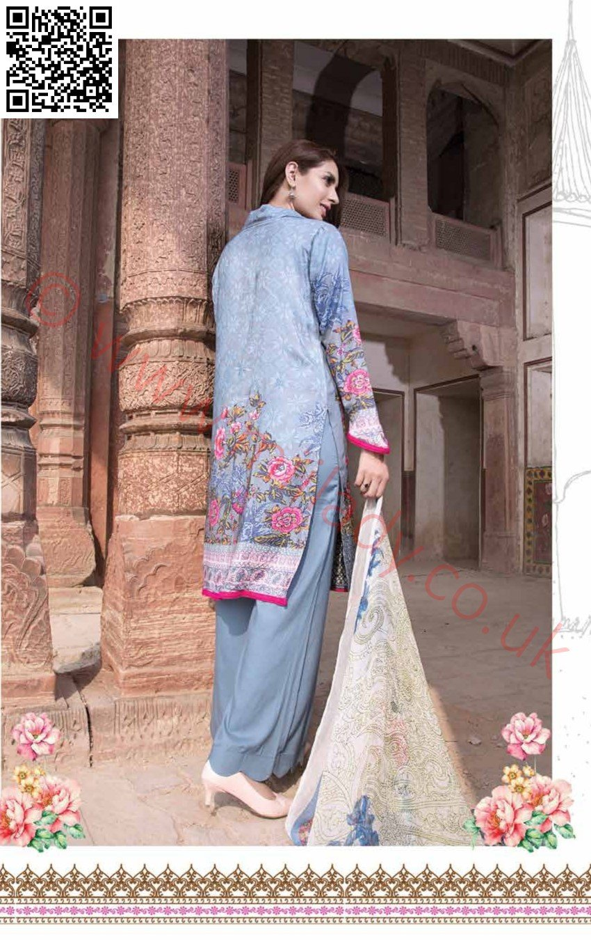 EshAisha Viscose Linen Winter Collection 2018 suit EA02 - Embroidered Linen kameez with Twill Printed Shawl