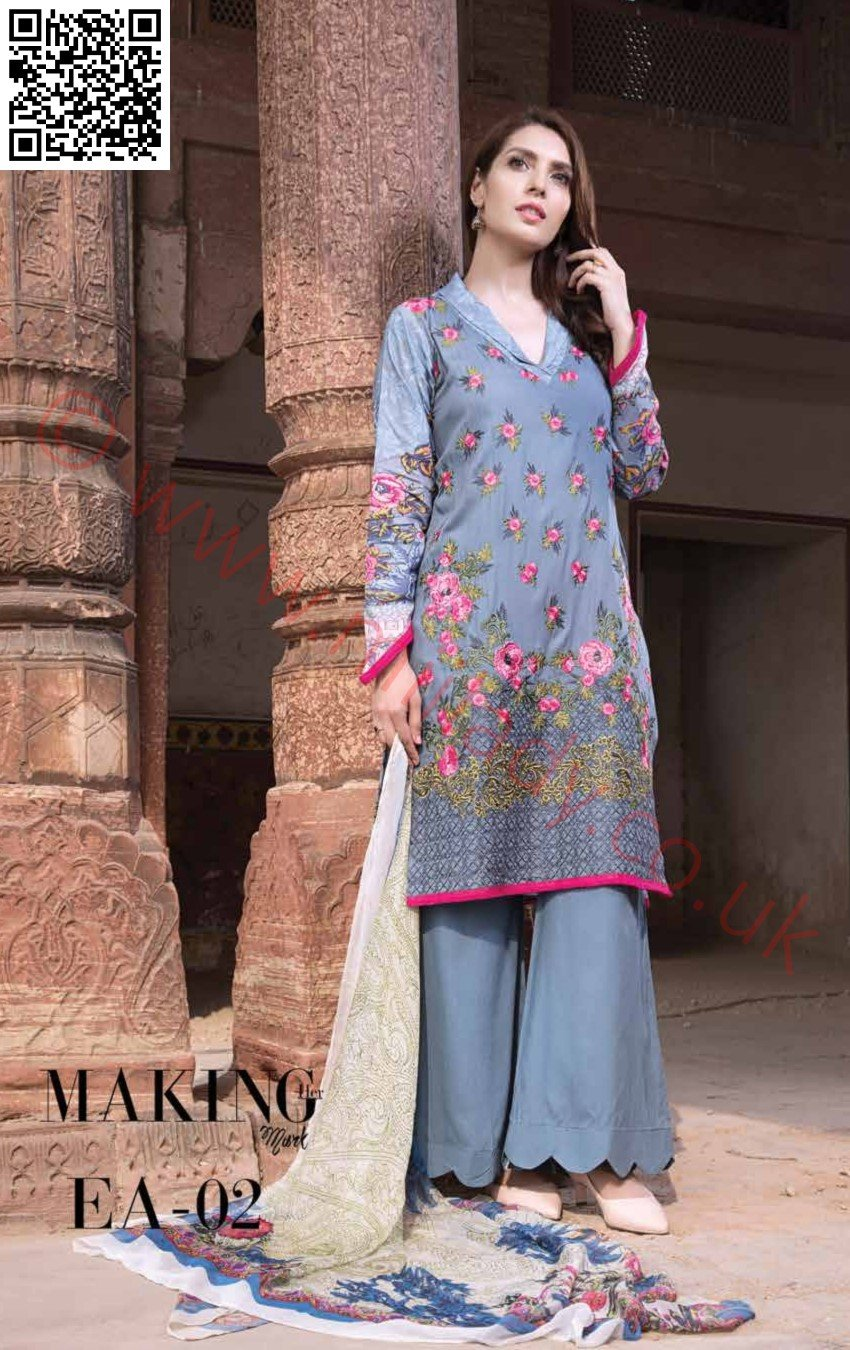 EshAisha Viscose Linen Winter 2018 suit EA-02