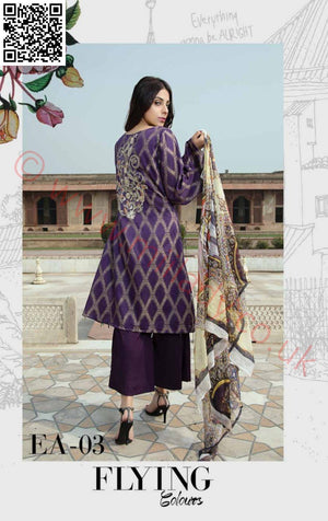 EshAisha Viscose Linen Winter 2018 suit EA03 - Embroidered Linen Kameez with Twill Shawl