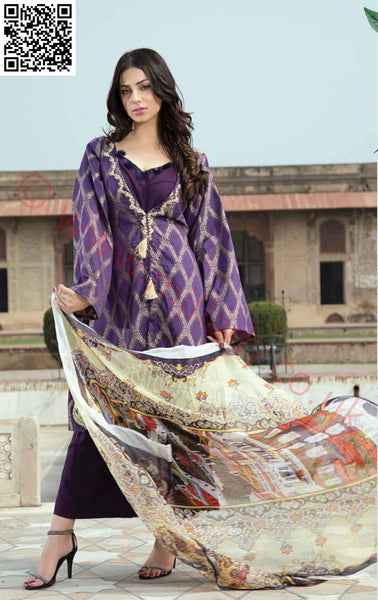 EshAisha Viscose Linen Winter Collection 2018 suit EA-03
