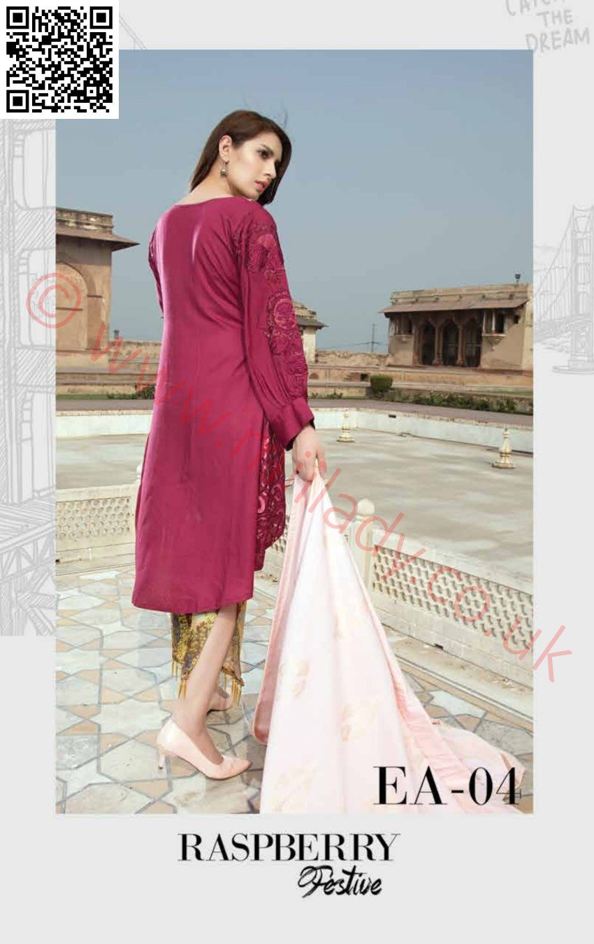 EshAisha Viscose Linen Winter Collection 2018 suit EA-04 - Embroidered Linen Kameez and zari jacquard dupatta