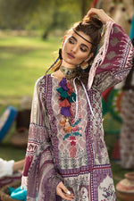 Florent Gypsy Lawn Vol-2 suit FL-2A - Embroidered Purple Lawn Shirt, Dyed Trouser with Patches and Chiffon Dupatta