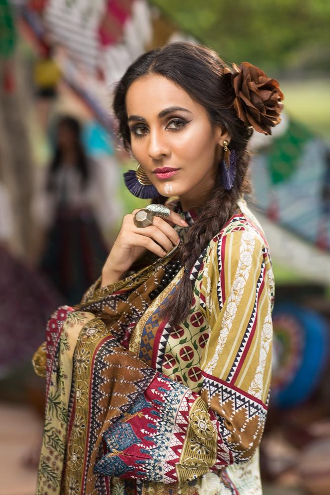 Florent Gypsy Lawn Vol-2 suit FL-2B - Embroidered Lawn Kameez, Dyed trouser and printed chiffon dupatta