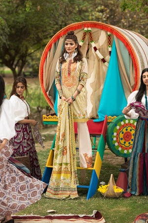 Florent Gypsy Lawn Vol-2 suit FL-5A - Embroidered/Printed Yellow Green lawn shirt and pima lawn dupatta