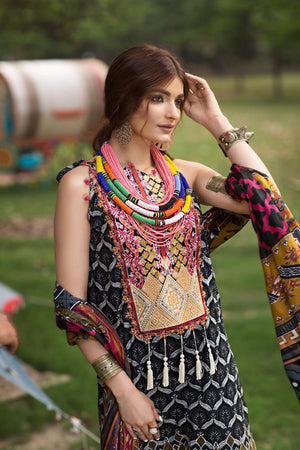 Florent Gypsy Lawn Vol-2 suit FL-9B - Embroidered black lawn kameez, dyed trouser with patches and printed lawn dupatta