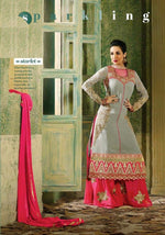 Glossy Show Stopper Georgette Grey suit 3508
