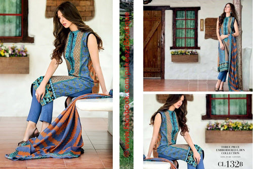 Gul Ahmed Essential Lawn 2016 kurti CL-132B