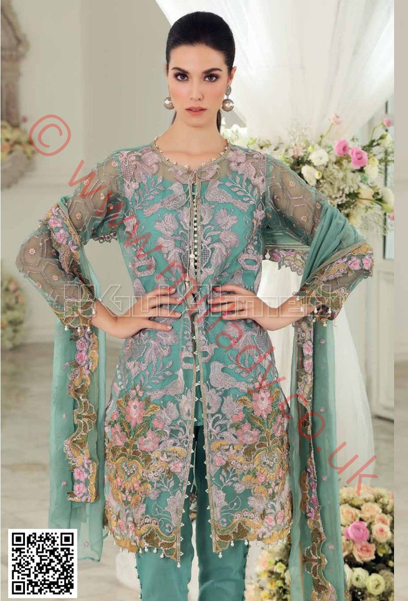 Gul Ahmed Festive Eid 2018 suit FE121 - Ferozi Embroidered Organza kameez, sleeves with blended chiffon dupatta