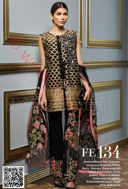 Gul Ahmed Festive Eid 2018 suit FE134 - Jacquard Kameez with embroidered patches, and Net dupatta