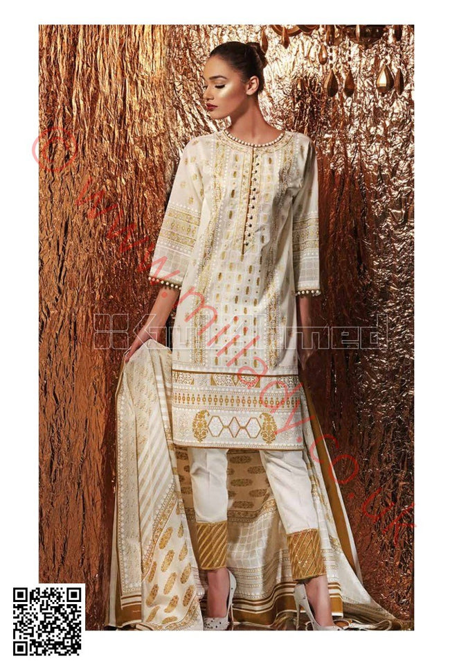 Gul Ahmed Festive Eid Collection 2018 suit FE157 - Beige printed kameez with dupatta