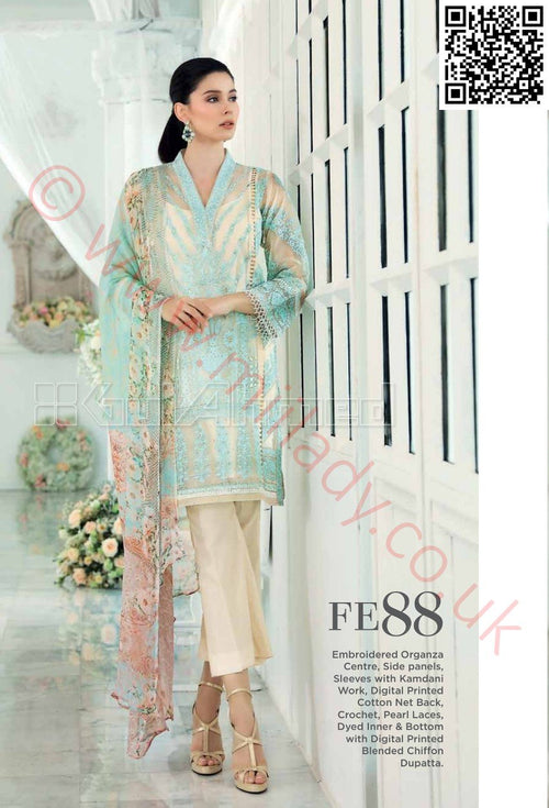 Gul Ahmed Festive Eid 2018 suit FE88 - Embroidered Organza Kameez with Chiffon dupatta