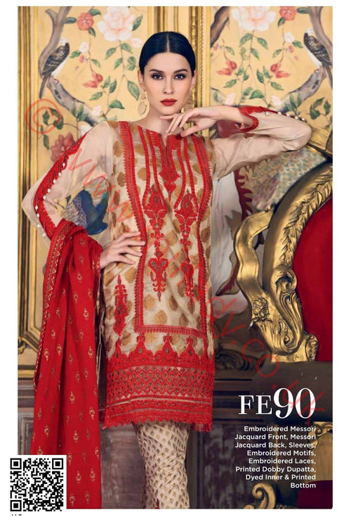 Gul Ahmed Festive Eid 2018 suit FE90 - Red Colour - Embroidered Messori Fabrics