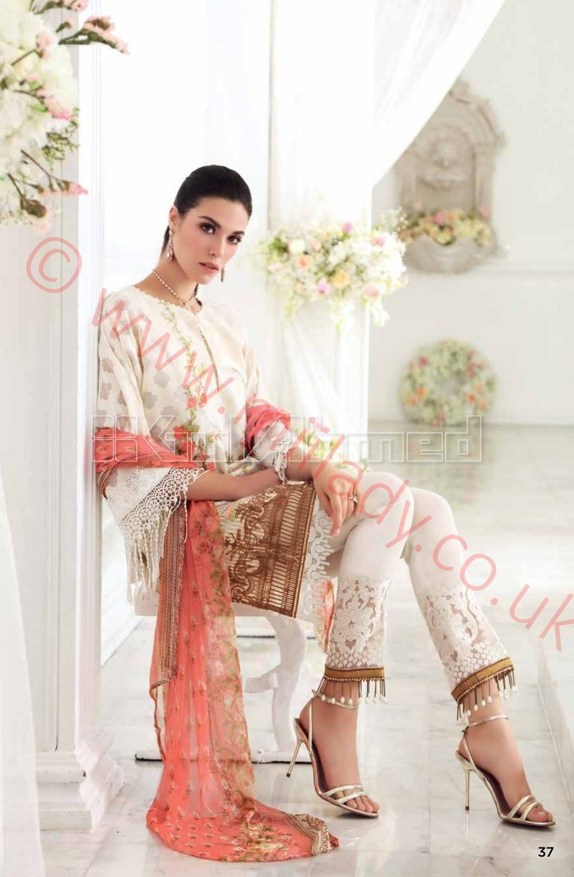 Gul Ahmed Festive Eid 2018 suit FE91 - Embroidered Organza Jacquard Kameez with printed pure chiffon dupatta
