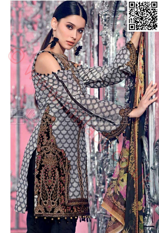 Gul Ahmed Eid 2018 suit FE97 - Embroidered Net Jacquard kameez with chiffon dupatta