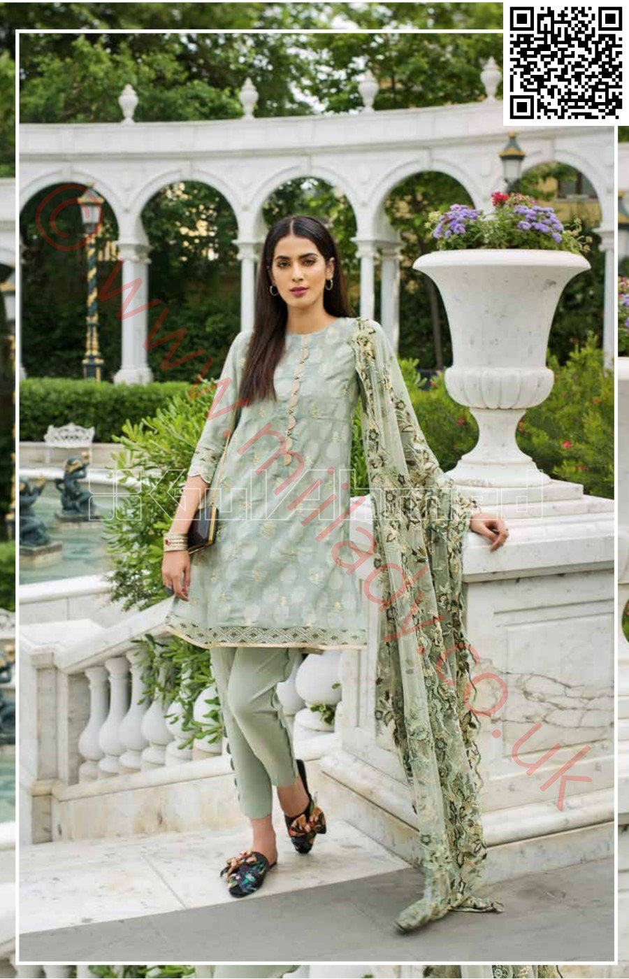 Gul Ahmed Festive Eid Vol-2 2018 suit EA-41 - Embroidered Jacquard kameez with embroidered Net dupatta