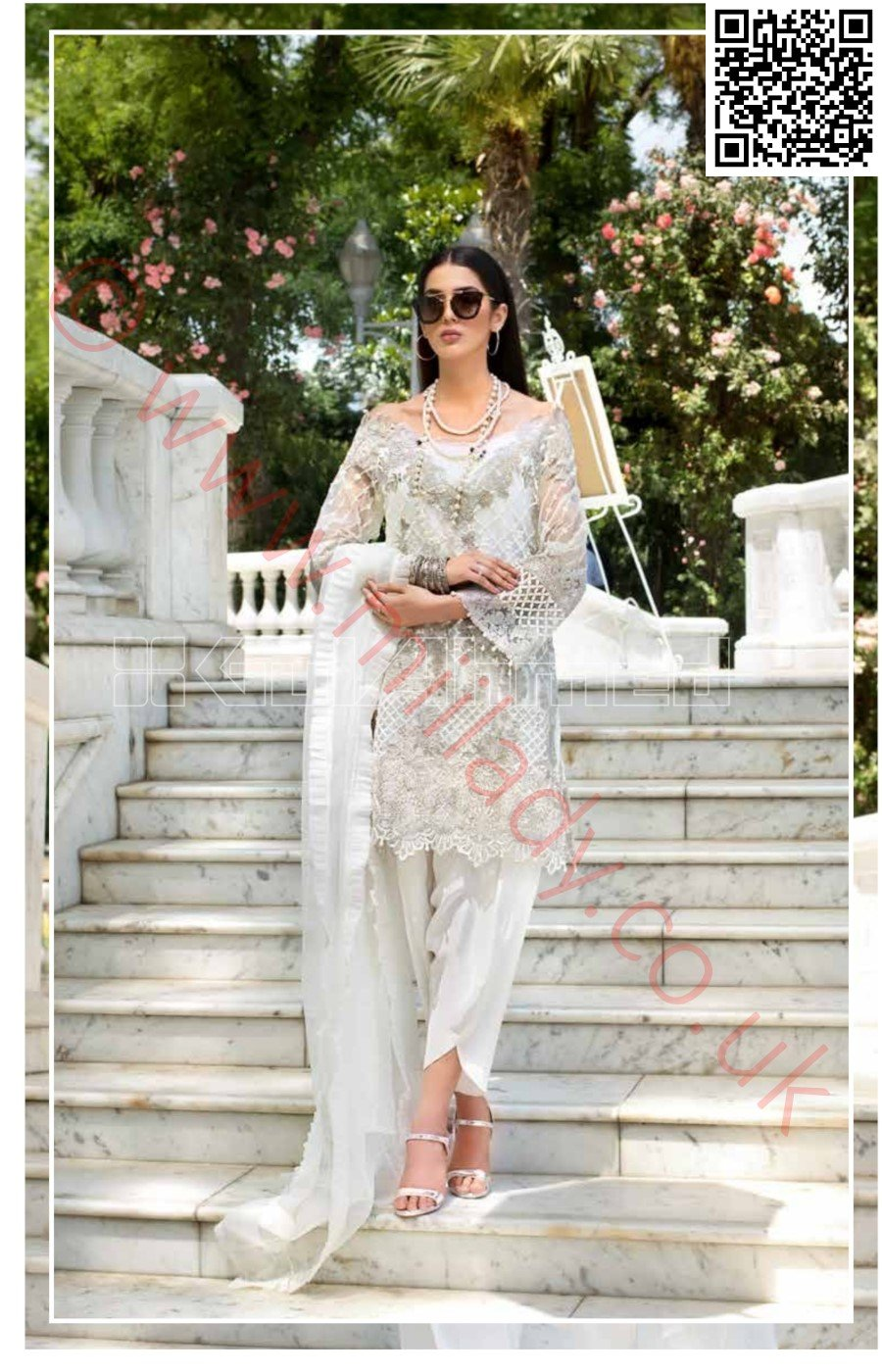Gul Ahmed Festive Eid Vol-2 2018 suit EA-51 - Embroidered Organza White Kameez with embroidered dupatta