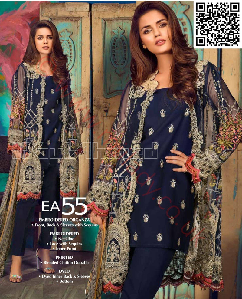 Gul Ahmed Festive Eid Vol-2 2018 suit EA-55 - Embroidered Organza shirt with blended chiffon dupatta