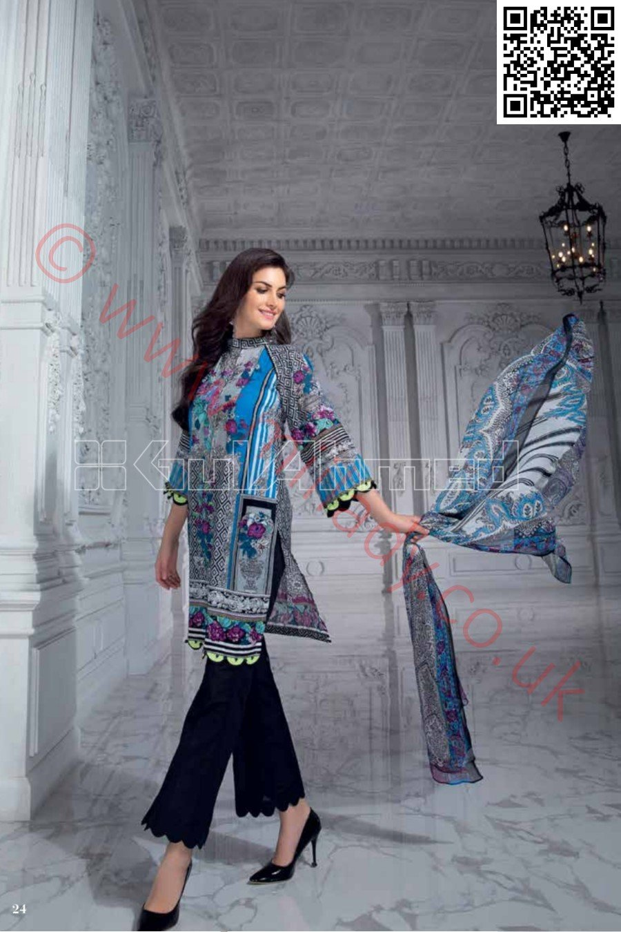 Gul Ahmed Pre-Fall Cambric suit C-461 - Embroidered/Printed Kameez with printed chiffon dupatta