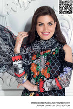 Gul Ahmed Pre-Fall Cambric suit C-464 - Embroidered/Printed Kameez with Printed Chiffon Dupatta