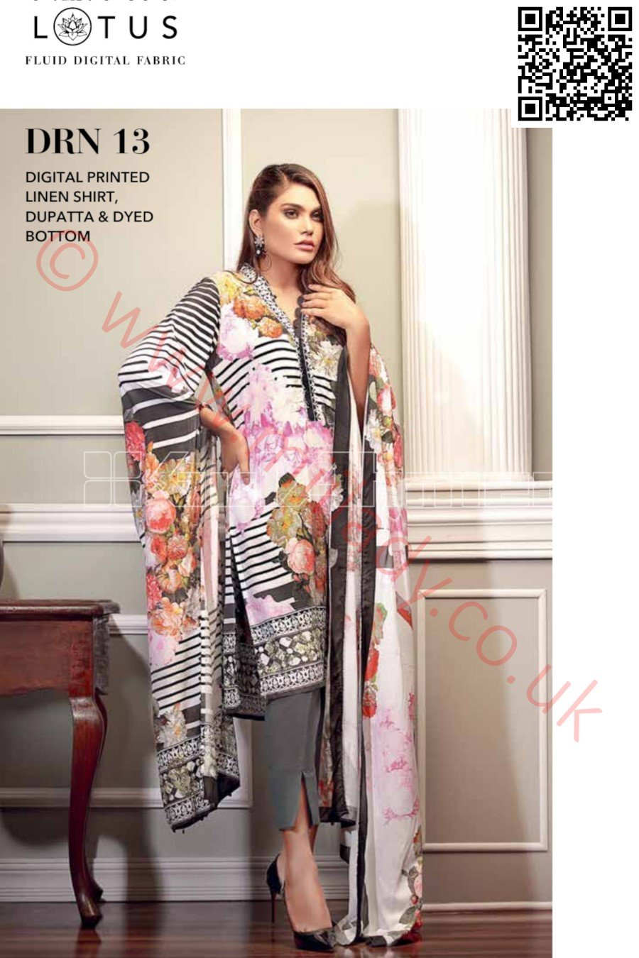 Gul Ahmed Pre-Fall Linen 2018 suit DRN-13