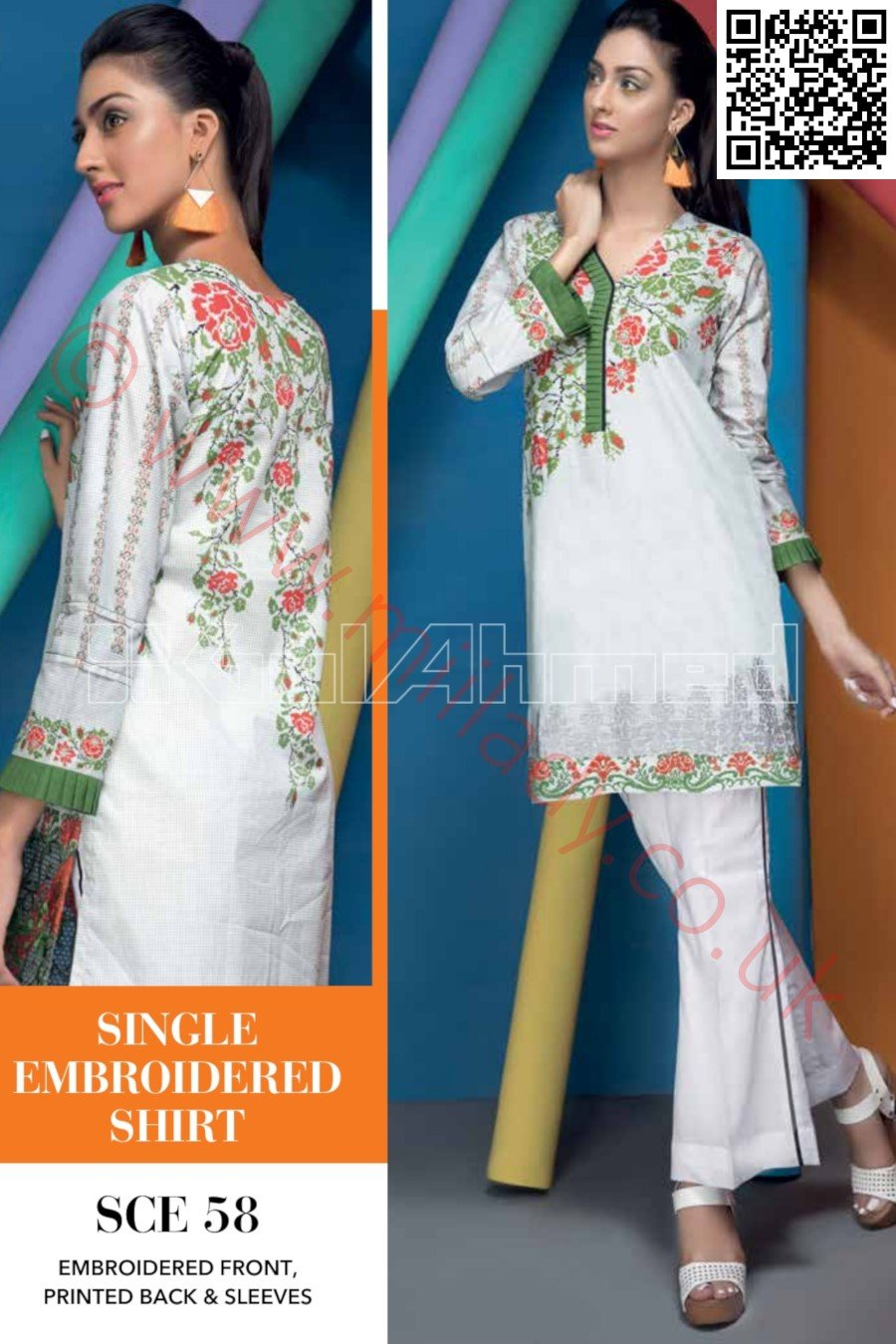 Gul Ahmed Pre-Fall Cambric 2018 suit SCE-58 - White Kameez Embroidered Kurti