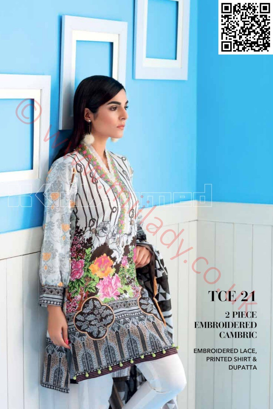 Gul Ahmed Pre-Fall Cambric suit TCE-21 - Printed kameez, dupatta with embroidered Lace