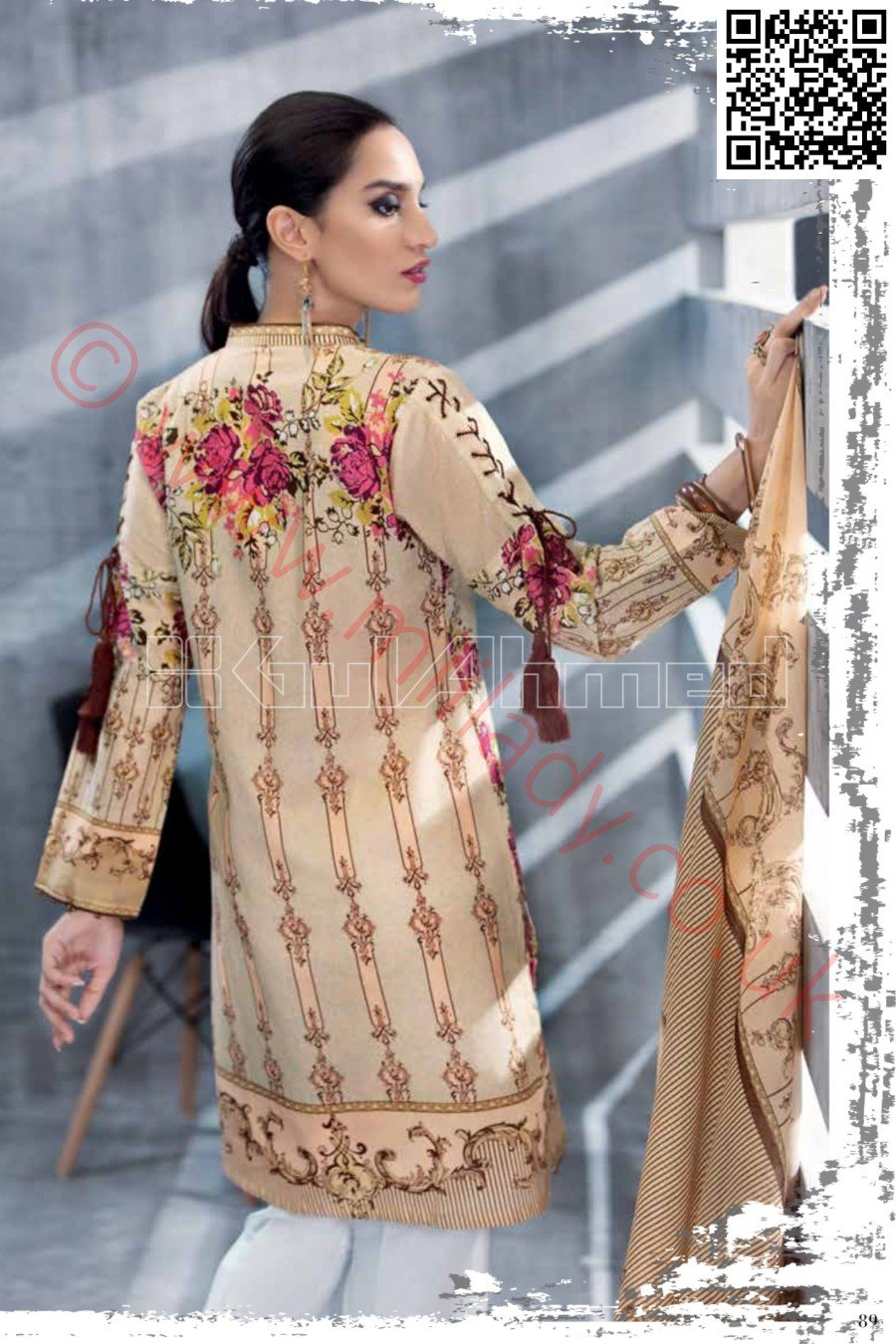 Gul Ahmed Pre-Fall Cambric 2018 suit TCE-23 - Embroidered Kameez with printed dupatta