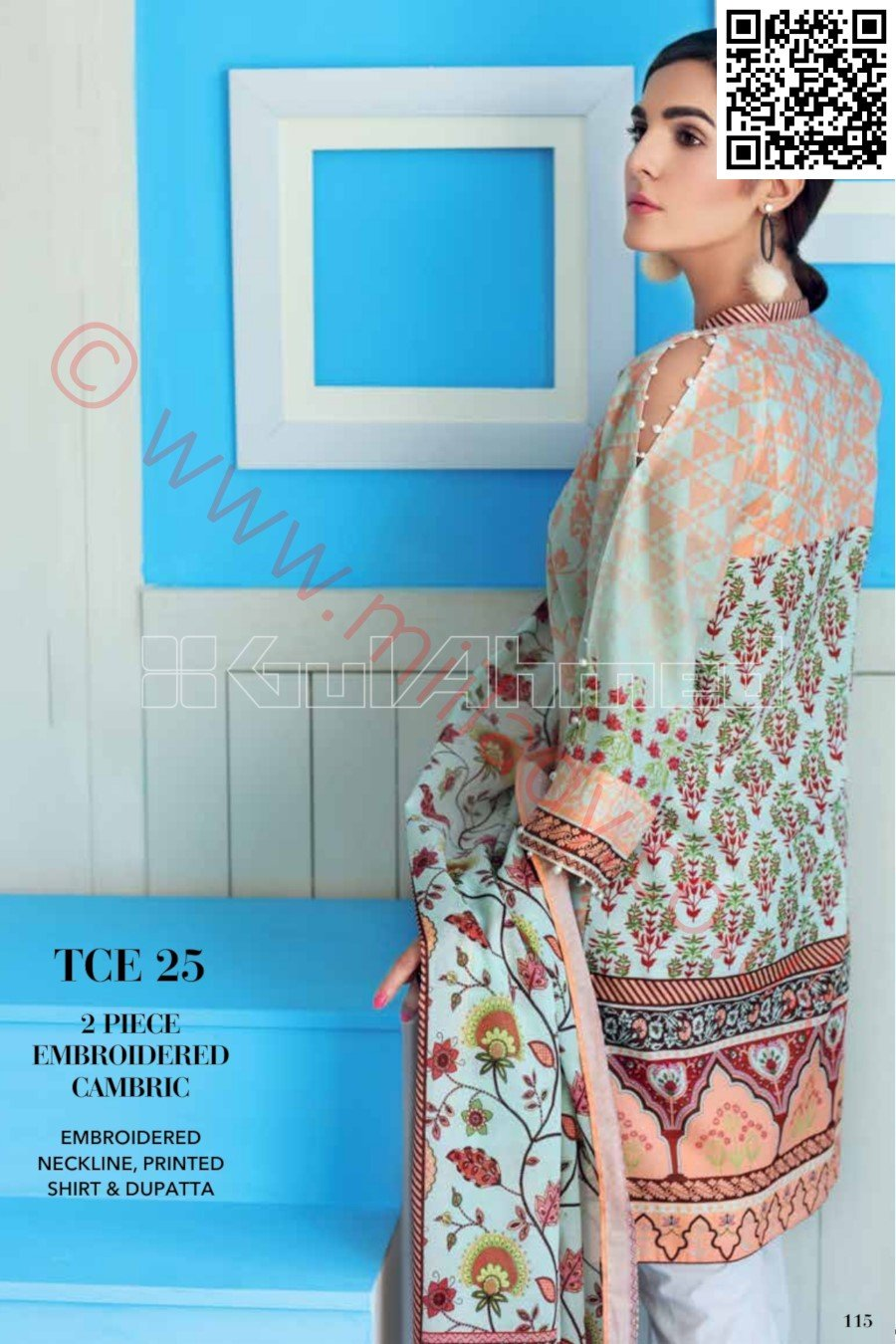 Gul Ahmed Pre-Fall Cambric 2018 suit TCE25 - Printed Kameez, dupatta with embroidered neckline
