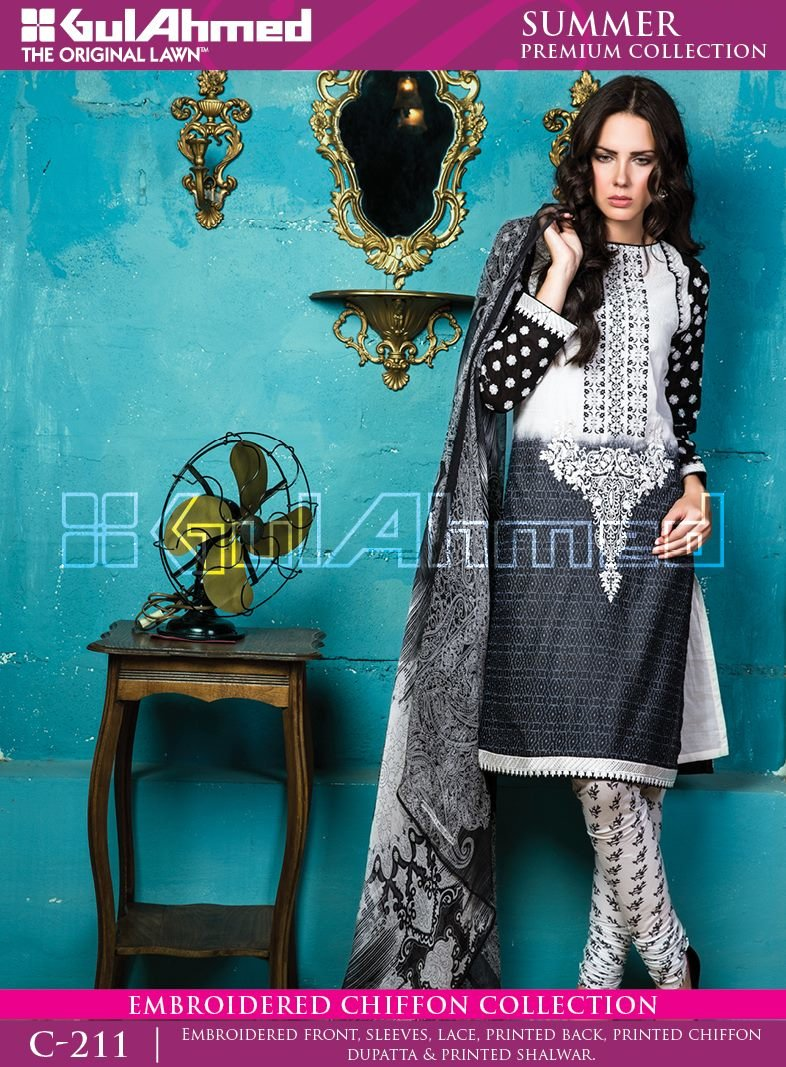 Gul Ahmed Premium Lawn Black suit C-211