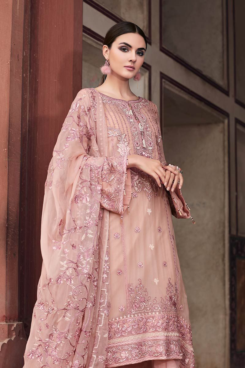 Gul Ahmed Premium Luxury 2019 suit LE-04 - Embroidered rusty pink pure chiffon Shirt with embroidered dupatta and dyed inner