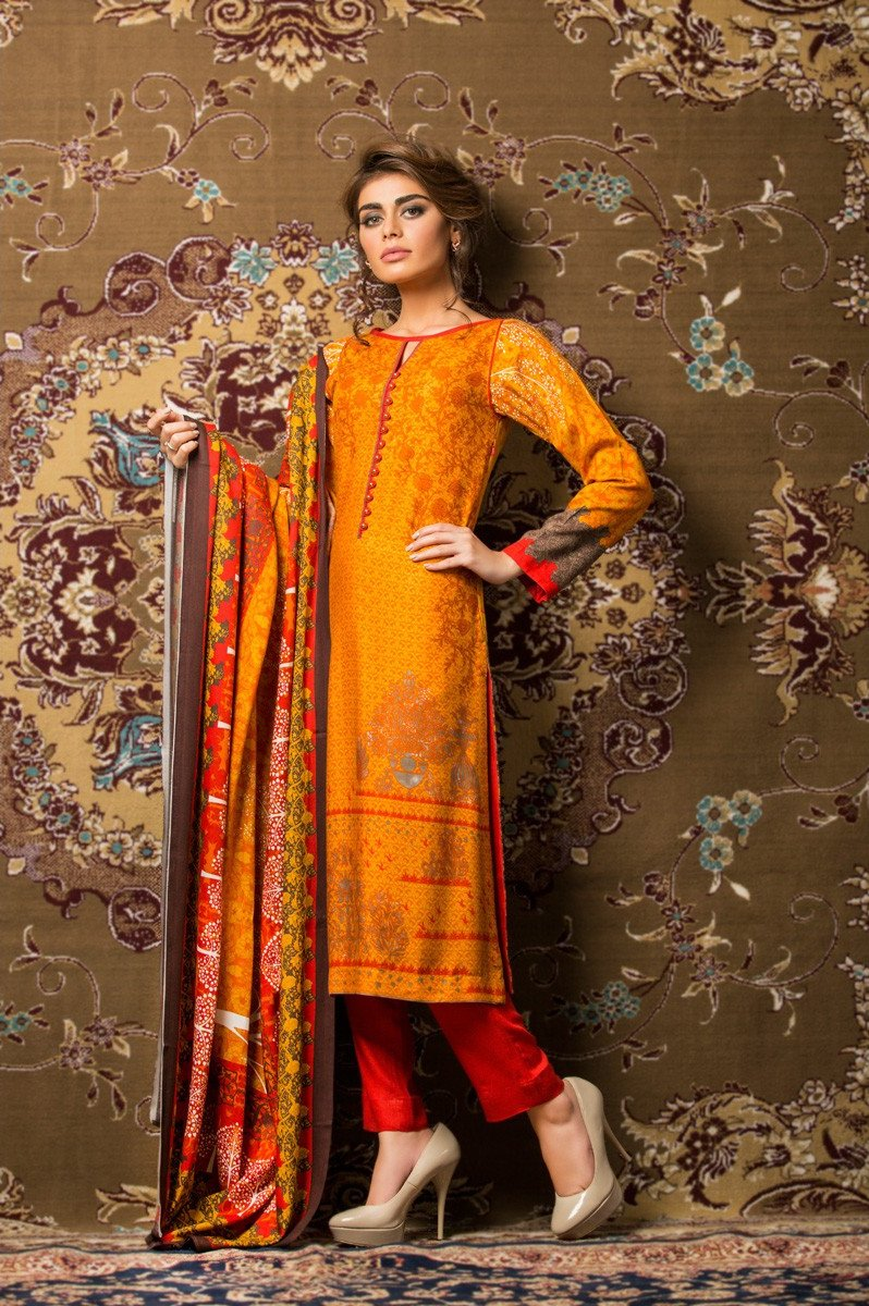 Gul Ahmed Red Dore Khaddar suit K-11B