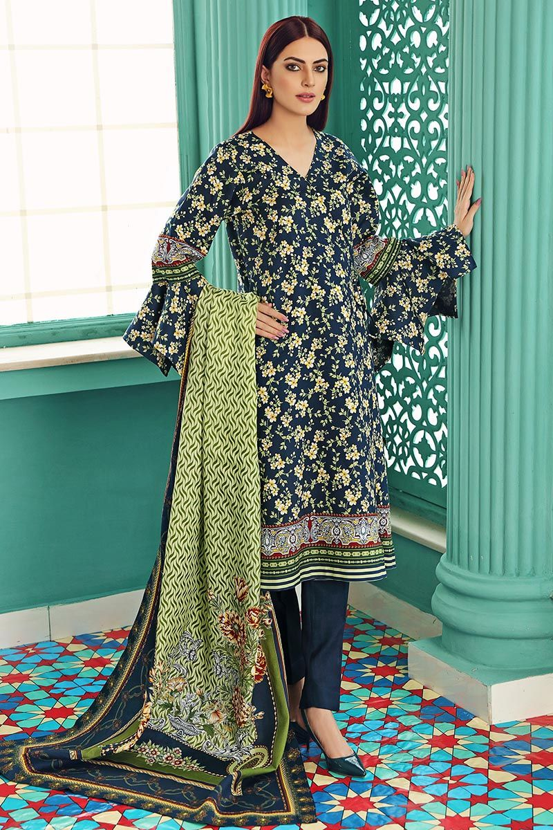 Gul Ahmed Winter Collection 2020 Navy Blue Linen suit LT-18