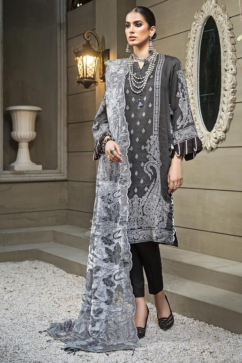 Gul Ahmed Winter Collection 2020 Grey Linen Velvet suit PM-318