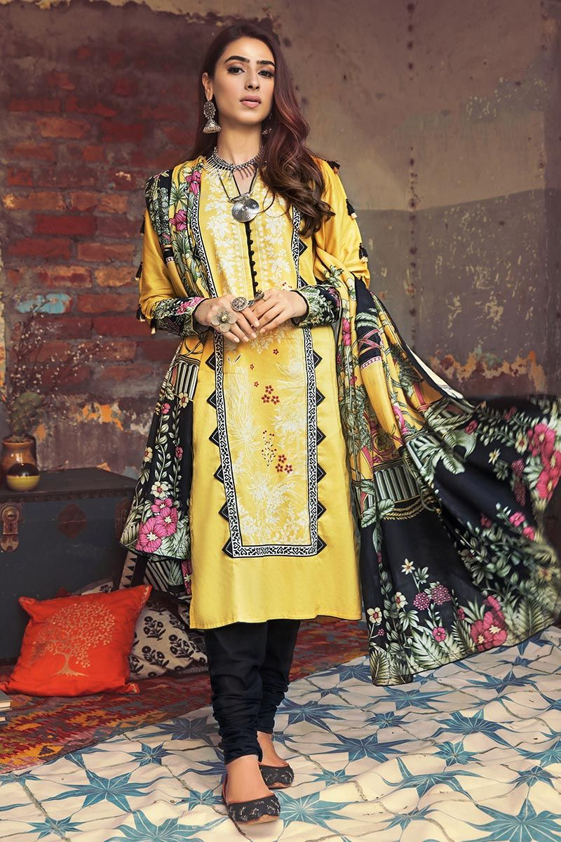 Gul Ahmed Winter Collection 2020 Yellow Corduroy suit CD-49